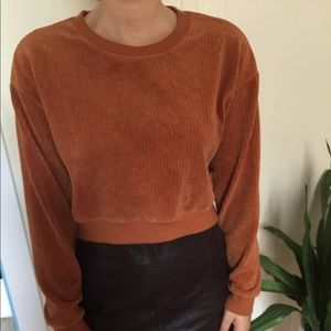 Textured Rust Cropped Sweater